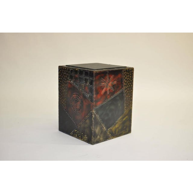 """Paul Evans welded steel cube table. Welded designs with painted colors or red, blue and gold. Slate top. Signed """"PE 73""""."""