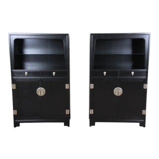 Michael Taylor for Baker Far East Collection Chinoiserie Ebonized Wall Units - a Pair For Sale