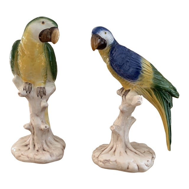 Large Vintage Italian Handpainted Parrots- a Pair For Sale