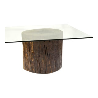 Mussutaiba Tree Trunk Dining Table with Glass Top For Sale