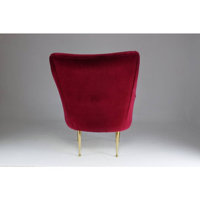 Italian Mid-Century Velvet Armchair For Sale - Image 6 of 11