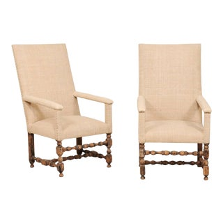 19th Century Italian Upholstered and Carved Wood Armchairs- a Pair For Sale