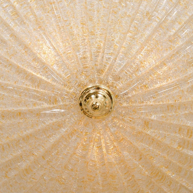 Fluted Gold Flecked Murano Glass Flush Mount Fixture For Sale - Image 4 of 4