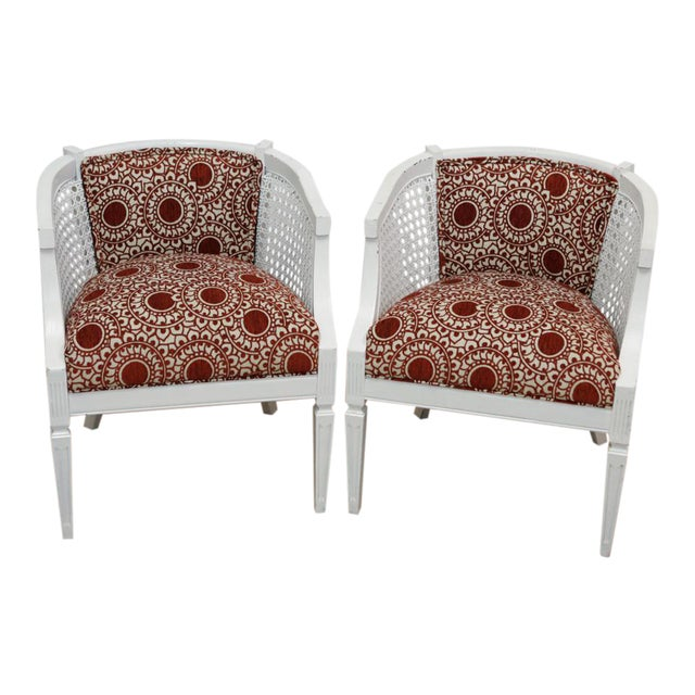 Mid-Century Rust & White Side Chairs - a Pair For Sale