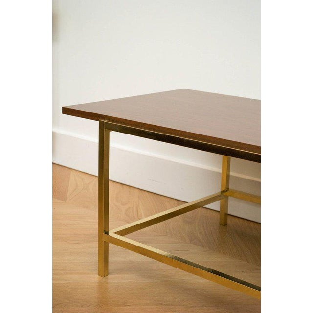 Brass and Walnut Cocktail Table - Image 5 of 7