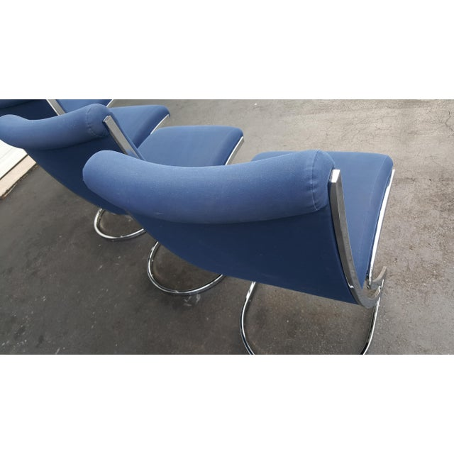 Blue Mid-Century Pierre Cardin Z-Back Chrome Cantilever Dining Chairs - Set of 4 For Sale - Image 8 of 9