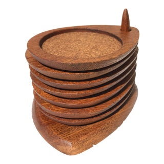 Mid-Century Hand Carved Wood Coasters - Set of 8 For Sale