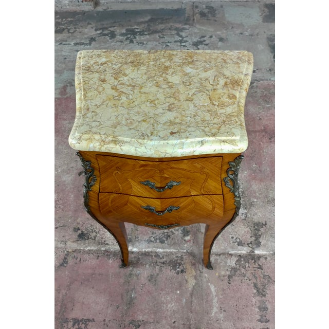 Marble French 19th Century Marquetry Petit Commodes- a Pair For Sale - Image 7 of 10