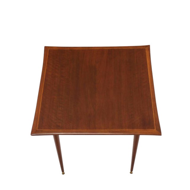 Italian Mid-Century Modern Walnut Game Table on Tapered Legs For Sale