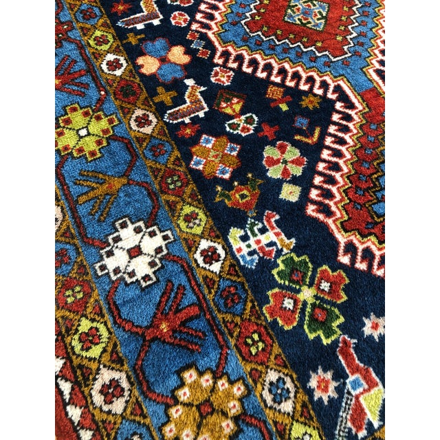 "1950s 1950s Vintage Hand-Knotted Wool Tribal Afshar Rug-3'6""x5'1"" For Sale - Image 5 of 13"