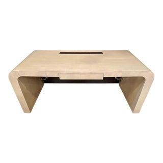 Modern Karl Springer Style Desk, Leather Back by Lorin Marsh For Sale