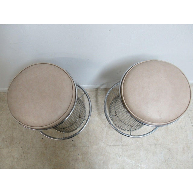 Vintage Chrome Wire Cone Bar Stools - A Pair - Image 5 of 11
