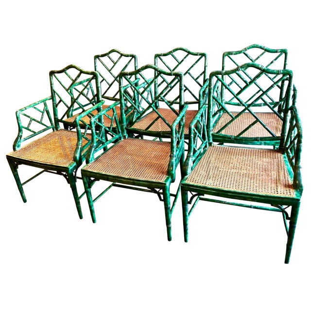 Chinese Chippendale Faux Bamboo Armchairs - Set of 6 For Sale