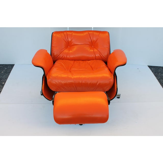 Mid-Century Modern Orange Leather Recliner - Image 5 of 11