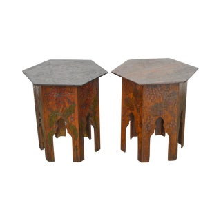 Antique Pair of Flemish Arts & Crafts Pyrographic Carved Taboret Side Tables For Sale