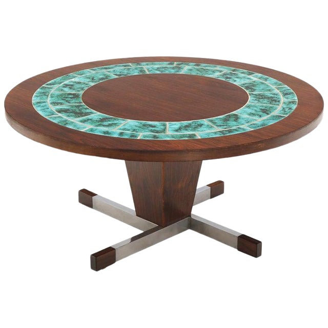 Art Tile Top Rosewood Cone Shape Base Round Coffee Table For Sale