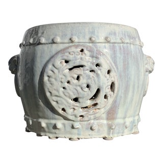 White Asian Ceramic Low Table Garden Stool For Sale