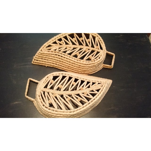 Woven Wicker Leaf Baskets - A Pair - Image 3 of 4