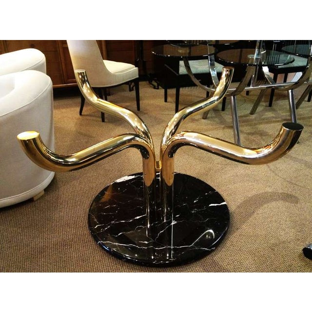 Italian Unique Brass-Marble and Glass Italian Dining Table For Sale - Image 3 of 5