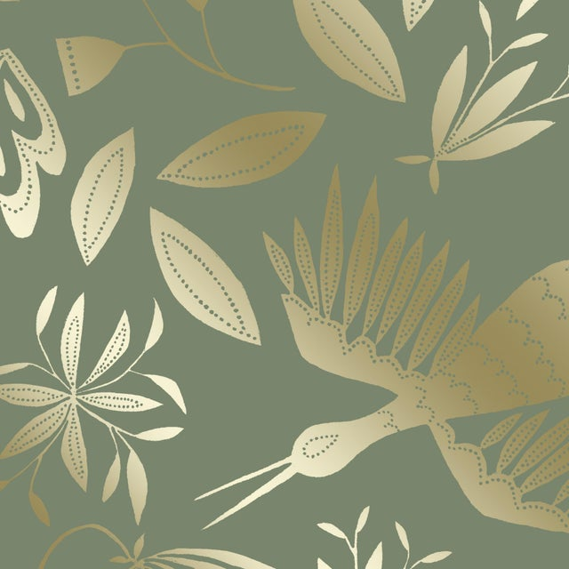 Julia Kipling Otomi Grand Wallpaper, 3 Yards, in English Mint, Gold Flash For Sale - Image 4 of 4