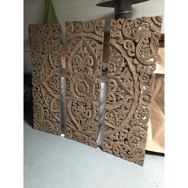 Floral Carved Wood Panels - Set of 3 - Image 2 of 8