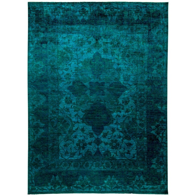 "New Hand-Knotted Turquoise Overdyed Rug - 9'10"" X 13'4"" - Image 1 of 3"
