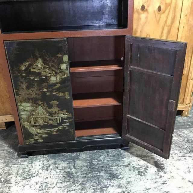 Chinese Ming Style Lacquered Bookcase or Cabinet For Sale - Image 9 of 11