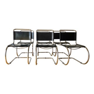 Vintage Leather Mies Van Der Rohe for Thonet Mr10 Chairs- Set of 6 For Sale