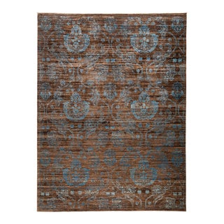 "Patterned Hand Knotted Area Rug - 9'1"" X 11'10"" For Sale"