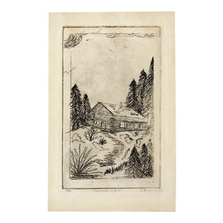 1977 Chechako Cabin Etching For Sale
