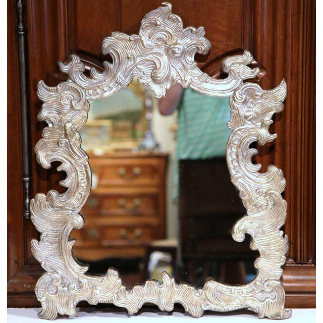 French Repousse Silvered Copper Vanity Mirror - Image 2 of 7