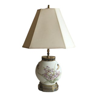 Hand Painted Lavender Orchids Motif Nippon Lamp