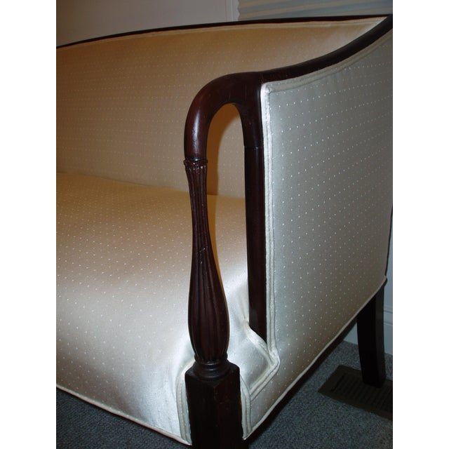 Empire Sheraton-Style Mahogany & Beige Upholstered Sofa For Sale - Image 3 of 6