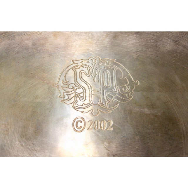 Brown Silver-Plated Folding Tray Table For Sale - Image 8 of 9