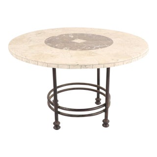 20th Century Mediterannean Marble and Stone Tile Topped Dining Table For Sale