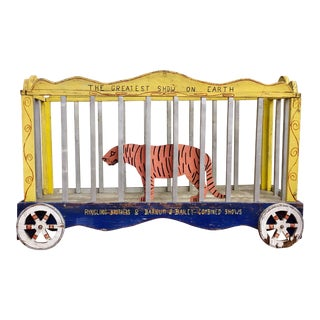 Antique Ringling Brothers Hand Painted Folk Art Wagon & Wheels With Wood Tiger Prop For Sale