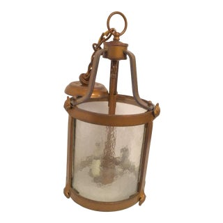 Vintage Seeded Glass 3 Light Carriage Lantern For Sale