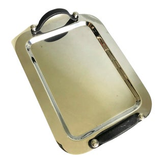 Art Deco Machine Age Style Chrome Large Handled Decorative Tray For Sale