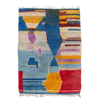 Colorful Beni Ourain Moroccan Wool Rug For Sale
