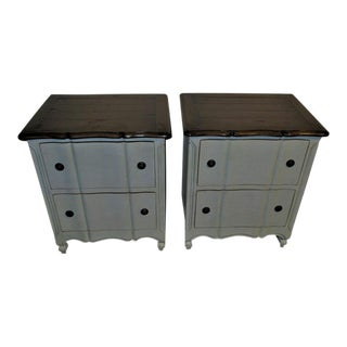 French Country Provencal Light Blue Nightstands - a Pair