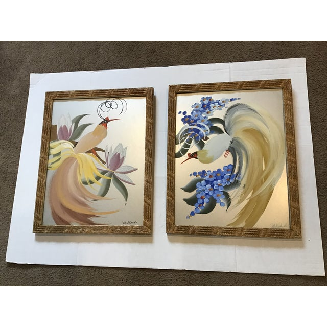 Vintage 20th Century Egret Crane Bird Metallic Art Paintings Signed - a Pair, Framed For Sale - Image 9 of 9