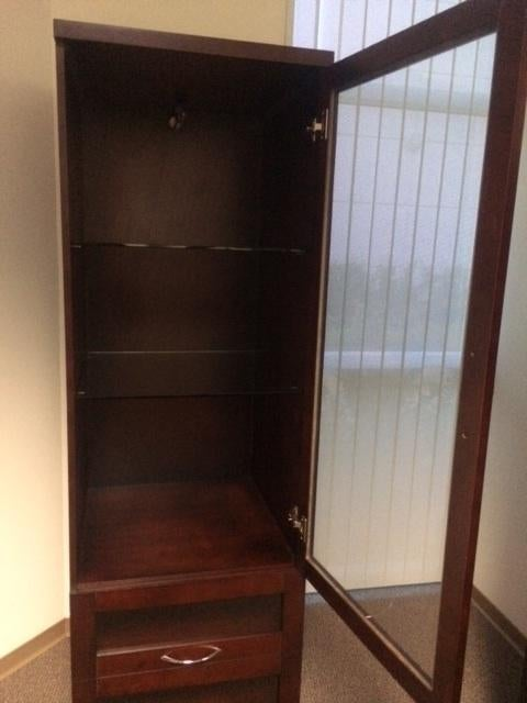 Dark Wood Lighted Display Cabinet For Sale   Image 4 Of 6