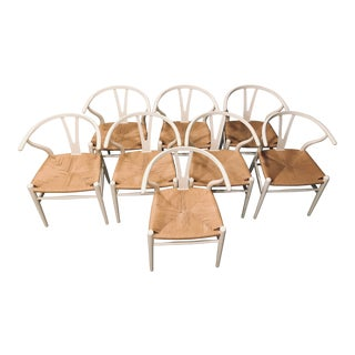 Hans Wegner White Wishbone Chairs - Set of 8 For Sale