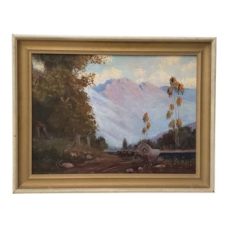 Western Mountain Landscape With Oxen Wagon 20th C. For Sale