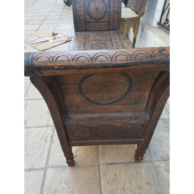Islamic Moroccan Handcarved Wooden Bench For Sale - Image 3 of 5