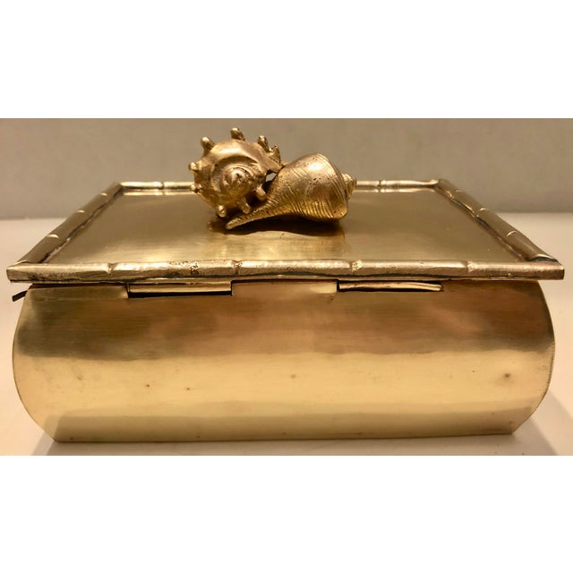 1970s Brass Box With Shells Decor For Sale - Image 5 of 7