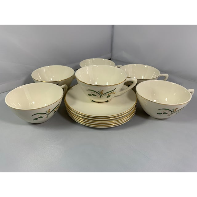 Cream Vintage Forsythia Pattern by Edwin Knowles China Company Dinnerware - 47 Piece For Sale - Image 8 of 13