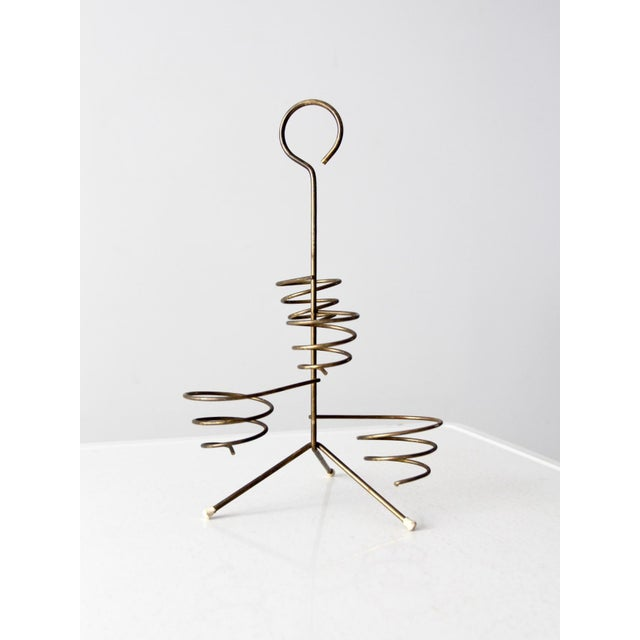 Mid-Century Brass Coil Stand For Sale - Image 9 of 9