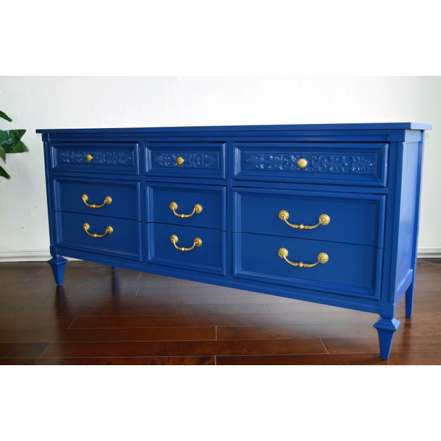 Permacraft Nine Drawer Navy Blue Dresser With Carved Front For Sale In San Francisco - Image 6 of 13