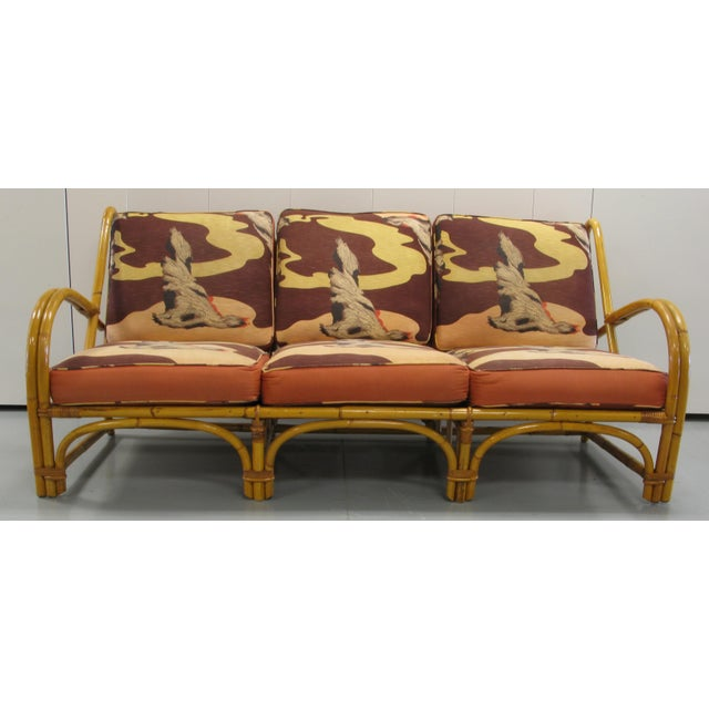 Willow & Reed burnt rattan living room set with original Art Deco driftwood pattern cushions. Set consists of three...